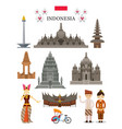 indonesia landmarks and culture object set