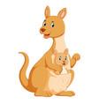 kangaroo playing with her kinds on her pocket vector image vector image