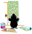mole gluing wallpapers vector image