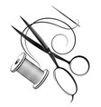 needle and thread scissors for cutting and sewing vector image vector image