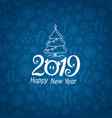 pattern with 2019 logo happy new year vector image vector image