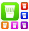plastic office waste bin set color collection vector image vector image