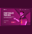 realize your business landing page concept vector image vector image