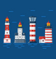 red lighthouses on sea background vector image vector image