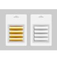 set of four gray yellow alkaline aa batteries vector image vector image