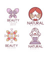 set of geometric emblems for beauty center vector image