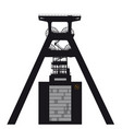 silhouette coal mine shaft tower black on white vector image vector image