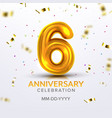 sixth anniversary birth celebration number vector image