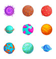 space planets icons set cartoon style vector image vector image