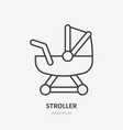 stroller line icon girl toy flat logo baby vector image