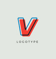 stunning letter v with 3d color contour vector image vector image