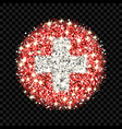 switzerland flag sparkling badge vector image vector image