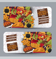 thanksgiving horizontal banner set with round vector image