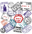 Travel and visa passport stamps background vector image