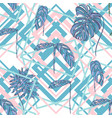 tropical leaves on geometry shapes background vector image