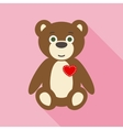Valentine Teddy Bear in Flat Style with Long