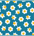 white daffodil - narcissus flower on indigo blue vector image vector image