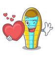with heart sleeping bad mascot cartoon vector image