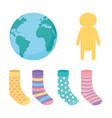 world down syndrome day socks and childerns vector image vector image