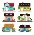 buildings set flat design houses isolated on vector image
