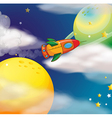 A spaceship at the space vector image vector image