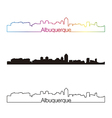 Albuquerque skyline linear style with rainbow vector image