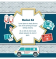 Ambulance rescue elements on brick wall background vector image vector image