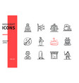 ancient japan - modern line design style icons set vector image