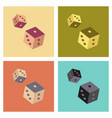 assembly flat icons poker dice lucky vector image vector image