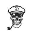 bearded skull sea captain design element for vector image vector image