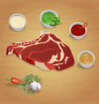 boston steak with delicious sauces and spices vector image vector image