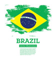 brazil flag with brush strokes vector image vector image