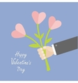 Businessman hand holding bouquet of heart flowers vector image vector image