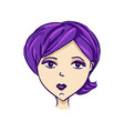 cartoon avatar girl with purple hair vector image vector image
