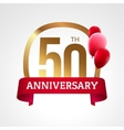 Celebrating 50th years anniversary golden label vector image vector image