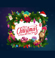 christmas tree and holly garland with xmas gifts vector image vector image