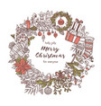 christmas wreath made with doodle festive icons vector image