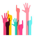 colorful human hands isolated on white background vector image vector image