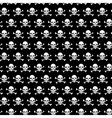 Crossbones and skull pattern on black background vector image
