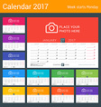 Desk calendar for 2017 year print template with vector image vector image