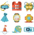 Flat color style diving icons vector image vector image
