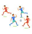 football soccer player men playing soccer flat vector image
