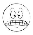 forced smile chat emoticon sketch vector image vector image