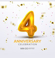 fourth anniversary birth celebration number vector image vector image