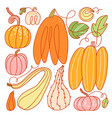 freaky abstract pumpkins set vector image