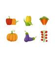 fresh vegetables set pepper corn cob carrot vector image vector image