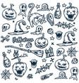 halloween ghost cat owl skull grave hat mag vector image