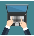 Hand on laptop keyboard with blank screen vector image