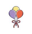 Happy birthday bunch balloons with ribbon