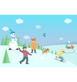 Happy kids playing winter games Winter landscape vector image vector image